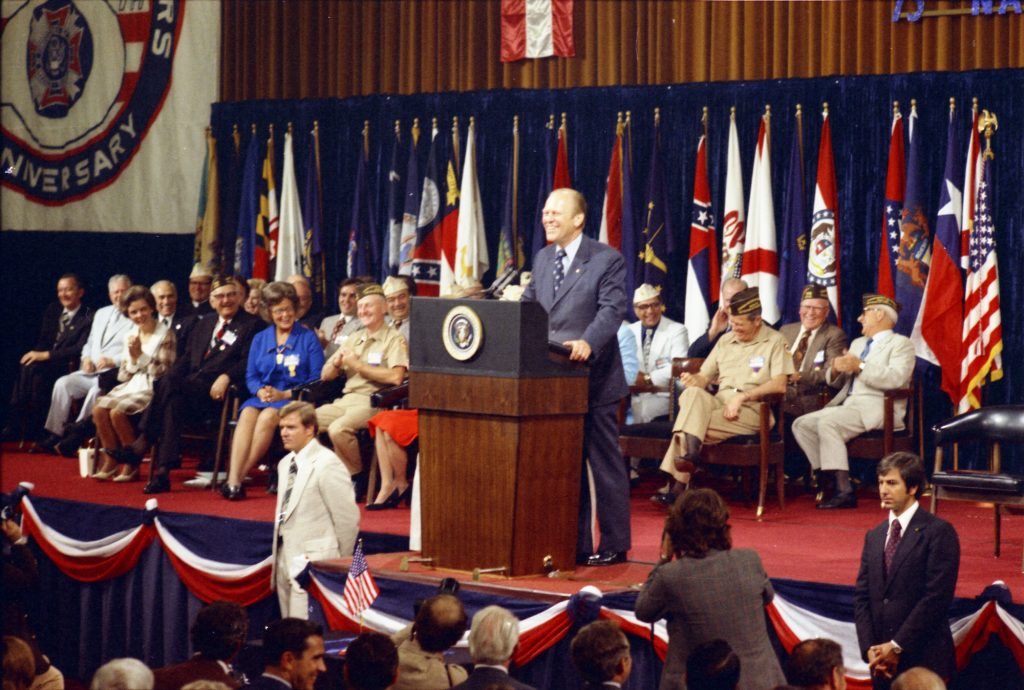 1974, August 19 – Conrad Hilton Hotel - International Ballroom – Chicago, IL – Gerald R. Ford, Ray Soden, Podium Guests – GRF speech – Amnesty Speech at the 75th Annual Convention of the Veterans of Foreign Wars (VFW) - Chicago, Illinois