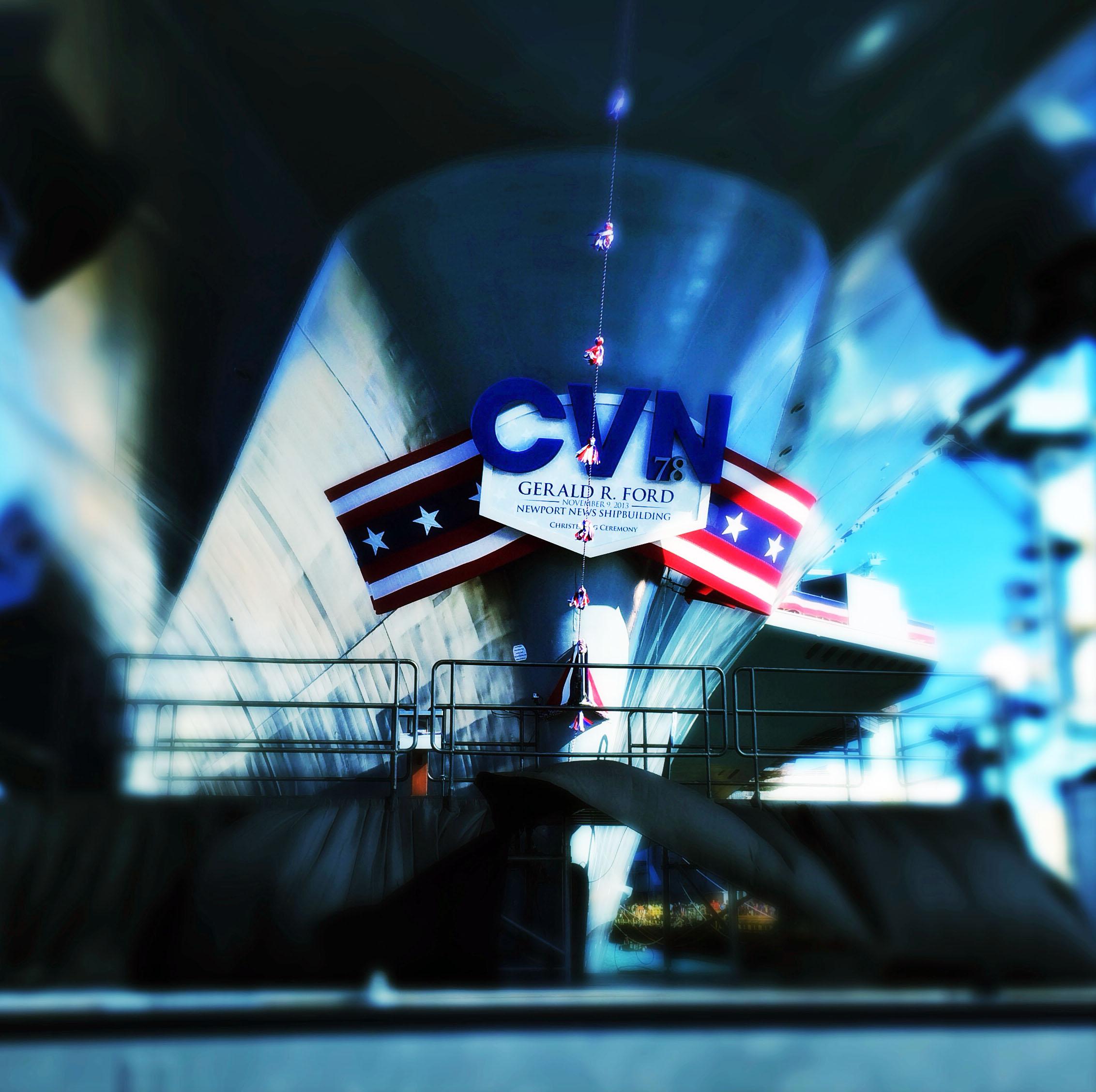 CVN 78 christening platform