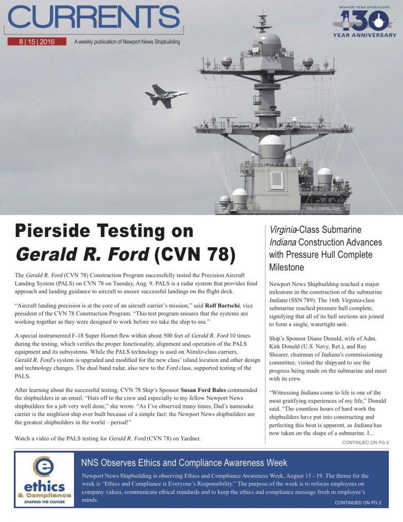 Newport News Shipbuilding - PALS Testing 8-15-16