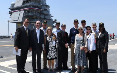 Coach Jim Harbaugh attends CVN 78 Commissioning Ceremony