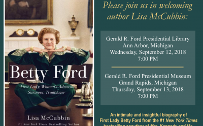"Author Lisa McCubbin to discuss her new book ""Betty Ford"" in September"