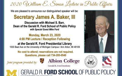 Secretary Baker 2020 Simon Lecture at Library invite
